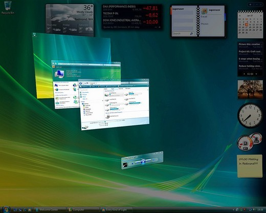 Stock Photo: 1848-95326 Microsoft Windows Vista, english version, desktop with perspectively arranged applications, screenshot