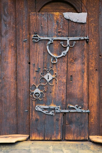 Stock Photo: 1848-95936 Wooden door at Uvdal stave church 12th century, Norway, Scandinavia, Europe