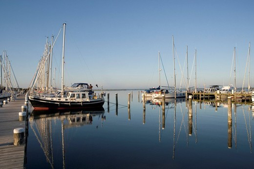 Boats reflected in the water, marina, Vitte, Hiddensee Island, Baltic Sea, Mecklenburg_Western Pomerania, Germany, Europe : Stock Photo