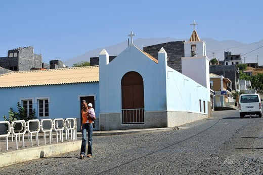 Church, Sao Filipe, Fogo Island, Cape Verde Islands, Africa : Stock Photo