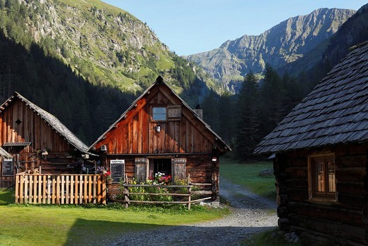 Neumann_hut, hut village in Goeriachtal Valley, Goeriach, Lungau, Schladming Tauern, Salzburg state, Salzburg, Austria, Europe : Stock Photo