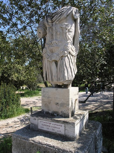 Statue of emperor Hadrian in ancient agora Athens Greece : Stock Photo