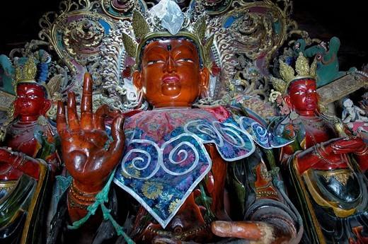 Stock Photo: 1848-97761 Buddha statue, Palcho Monastery or Pelkor Chode Monastery or Shekar Gyantse, Gyantse, Tibet