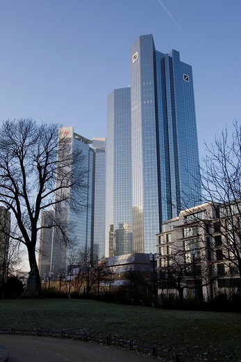 Deutsche Bank tower, Frankfurt, Hesse, Germany, Europe : Stock Photo