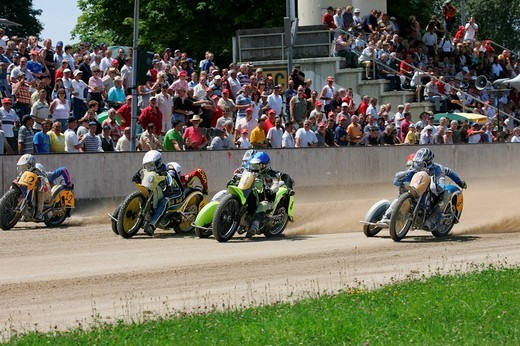 Stock Photo: 1848-97912 Sidecar motorcycles, international motorcycle race on a dirt track speedway in Muehldorf am Inn, Upper Bavaria, Bavaria, Germany, Europe