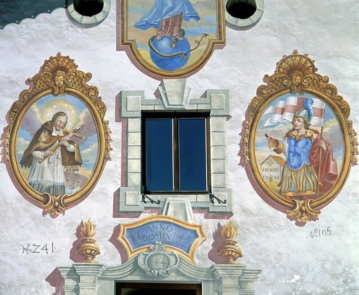 Frescoes on a farmhouse, Unterleutasch, Leutasch, Tyrol, Austria : Stock Photo
