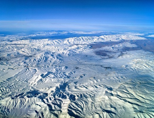 Iran, aerial view from an elevation of 10 000 metres, plateau, mountains, Iran : Stock Photo