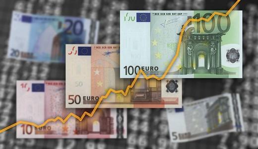 Stock price, Euro bills : Stock Photo