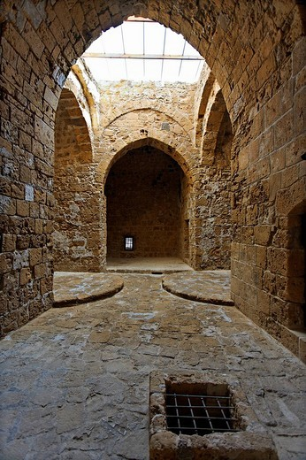 Castle interior, pointed arch, UNESCO World Heritage Site, Kato, Paphos, Pafos, Cyprus, Europe : Stock Photo