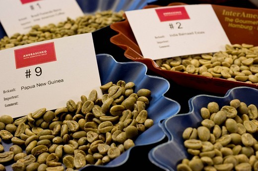 Unroasted coffee beans at Andraschko Coffee Manufacturers, coffee roasters, Berlin, Germany : Stock Photo