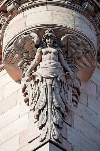 Stock Photo: 1848-98988 Angel figurine, support, bay, house, art nouveau, old town, Nuremberg, Middle Franconia, Franconia, Bavaria, Germany, Europe