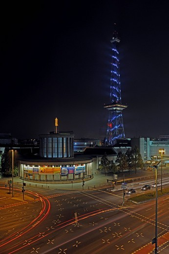 Radio tower at the fair grounds, illuminated for the Festival of Lights 2009, Berlin, Germany, Europe : Stock Photo