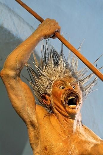 Stock Photo: 1848-99202 Attacking Celtic warrior with spear, war cry, life_like figure, Keltenmuseum Celtic museum, Hallein, Salzburger Land region, Salzburg, Austria, Europe
