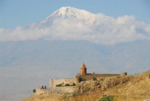 Stock Photo: 1848-99704 Chor Virap monastery in front of mount Ararat, Ararat province, Armenia