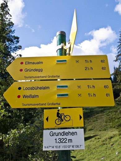 Stock Photo: 1848-99890 Directional signs marking various hiking trails, Grossarltal Grossarl Valley, Salzburg, Austria, Europe