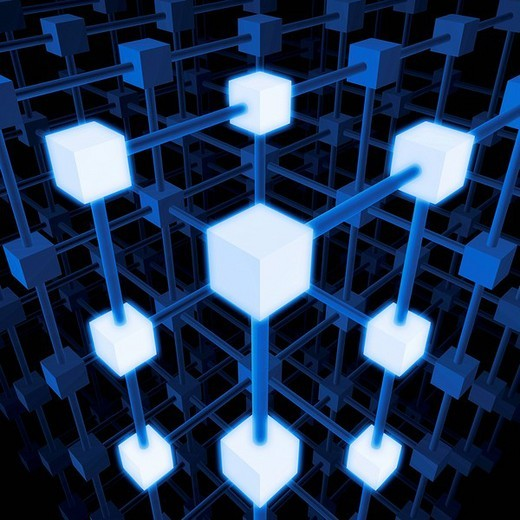 Stock Photo: 1848R-272883 Three_dimensional grid structure made of blue and white cubes and rods, 3D Illustration