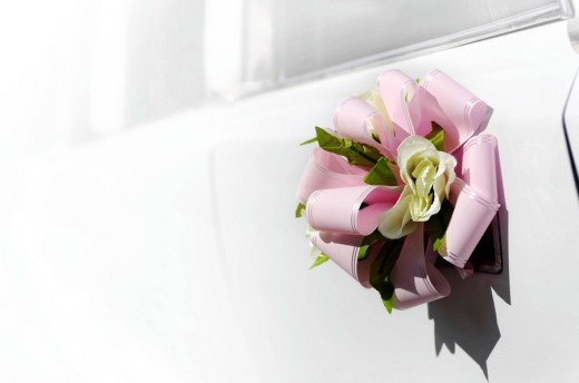 Stock Photo: 1848R-272931 Flower with a pink bow on door handle of a white wedding limousine