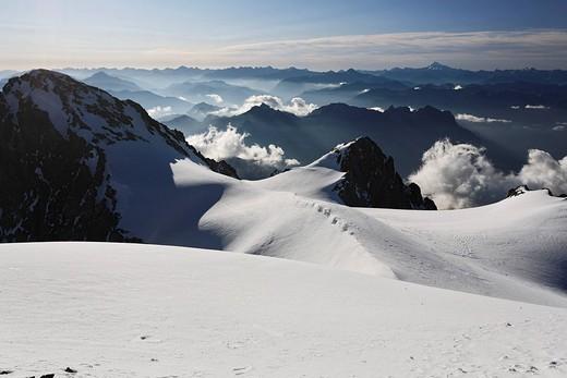 View from Mont Pelvoux 3 946 m at Cottian Alps with Monviso, Provence-Alpes-Cote de Azur, Hautes-Alpes, France : Stock Photo