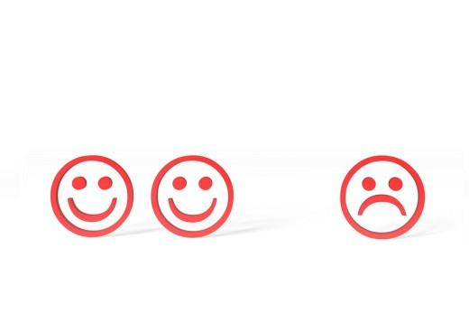 Three red Emoticons, two happy, one sad, 3D illustration : Stock Photo