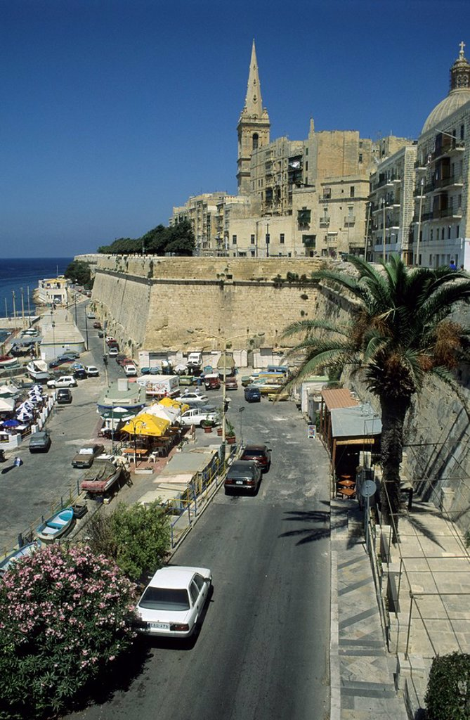 Stock Photo: 1848R-275478 View of San Salvatore Bastion, Valetta, La Valetta, Malta