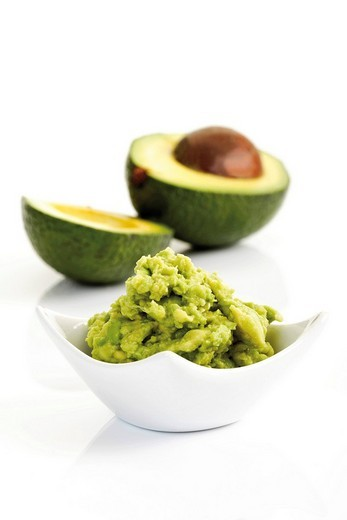 Avocado cream, Guacamole and Avocado : Stock Photo