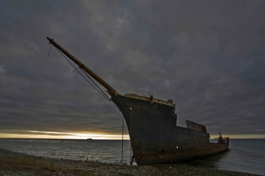 Stock Photo: 1848R-276562 Ship wreck Lord Lonsdale, Atlantic Ozean, Chile, Patagonia, South America
