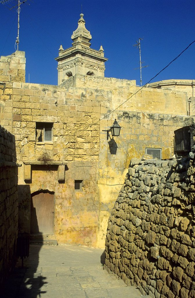 Stock Photo: 1848R-276638 Narrow lane in the historic center of Victoria Rabat, Gozo island, Malta