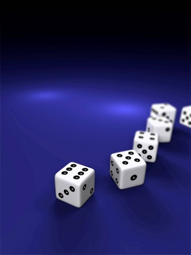 Five white die on a blue surface, 3D illustration : Stock Photo