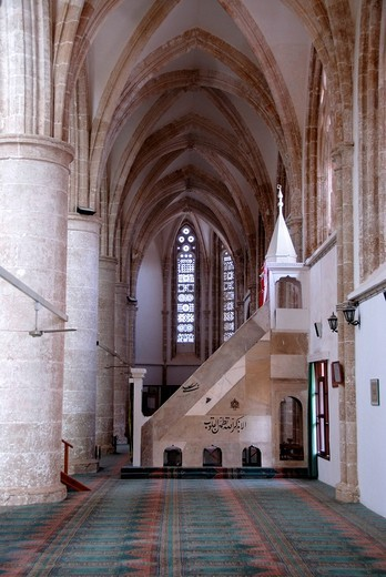 Gothic hall of former St  Nicholas Cathedral now Lala Mustapha Pasha Mosque Famagusta Gazimagusa North Cyprus : Stock Photo