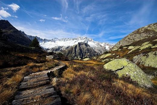 Dammastock and glacier in the Goeschen valley, Canton Uri, Switzerland : Stock Photo