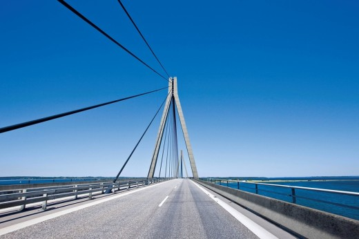 Crossing the Faro Bridge between Zealand and Falster in Denmark, Europe : Stock Photo