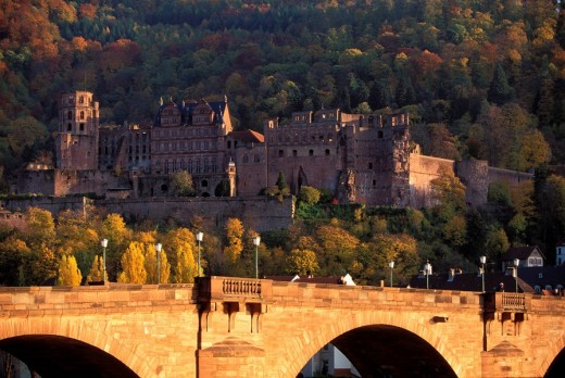 Heidelberg, Germany: romantic castle , one of the most important sights in Germany, main parts in the Renaissance-style, parts from other history styles are still integrated, front:Karl-Theodor Bridge or Alte Bruecke : Stock Photo