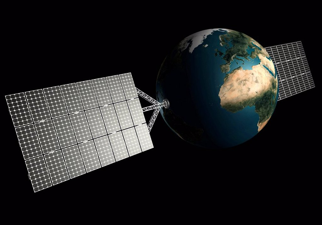 Planet Earth with solar panels attached to it : Stock Photo