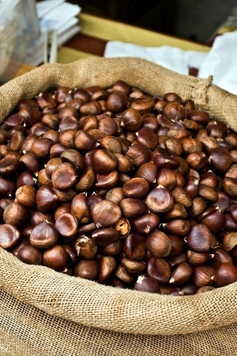 Chestnuts from Partenio, IGP product in a market in Mercogliano, Avellino, Campania, Italy, Europe : Stock Photo