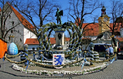 Easterfountain, Ingolstadt, Bavaria, Germany, : Stock Photo