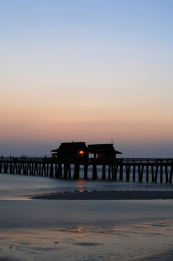 Sunset on Naples Pier, Florida, USA : Stock Photo