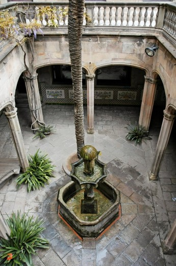 Courtyard of the casa l´ardiaca, gothic quarter, Barcelona, Catalonia, Spain : Stock Photo