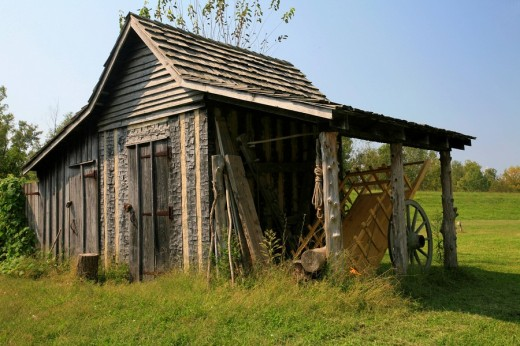 Stock Photo: 1848R-279885 Hut and wooden cart, Fort de Chartres State Historic Site, Illinois, USA