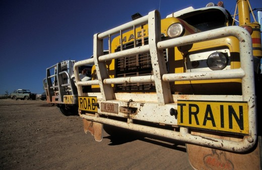 Stock Photo: 1848R-279892 Road Trains at Top Springs Road House, Northern Territory, Australia