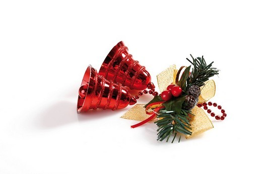 Stock Photo: 1848R-280096 Red bells, fir branch and a ribbon
