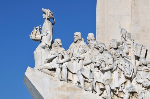 Monument to the Discoveries, Padrao dos Descobrimentos, with great people of the Portuguese seafaring history, on the estuary of the Tagus river, Belem, Lisbon, Portugal, Europe : Stock Photo
