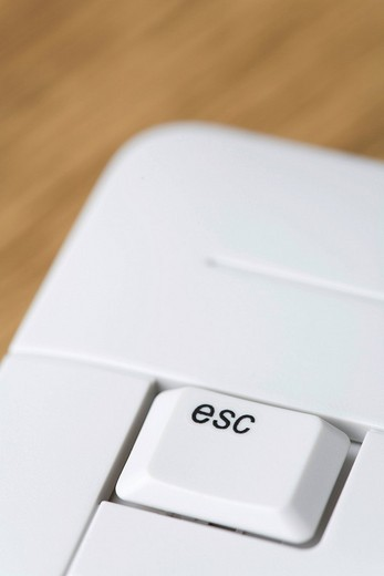 Stock Photo: 1848R-280635 Esc escape key on a keyboard