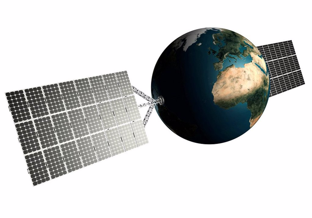 Stock Photo: 1848R-281140 Planet Earth with solar panels attached to it