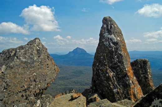 Stock Photo: 1848R-281451 Rocky summit of Mt Pelion East on Overland Track in Cradle Mountain Lake St Clair Nationalpark Tasmania Australia