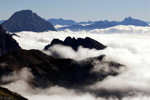 Sea of fog over the Inn River Valley Inntal, Ehrwald, Tirol, Austria, Europe : Stock Photo