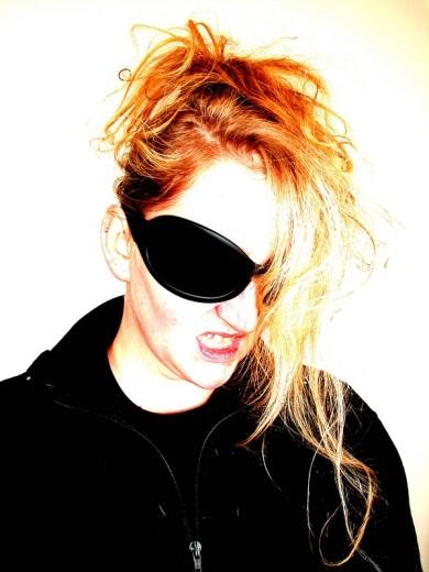Angry woman, big glasses : Stock Photo