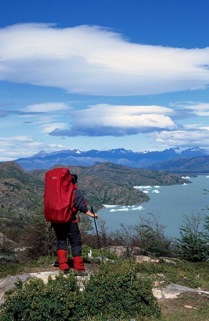 Stock Photo: 1848R-282464 Woman looking towards Lago Grey in Torres del Paine national park Chile