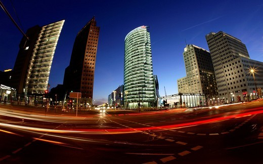 Light trails and skyscrapers, Potsdamer Platz, Berlin, Germany : Stock Photo
