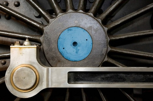 Stock Photo: 1848R-284188 Mechanical detail of an old steam locomotive
