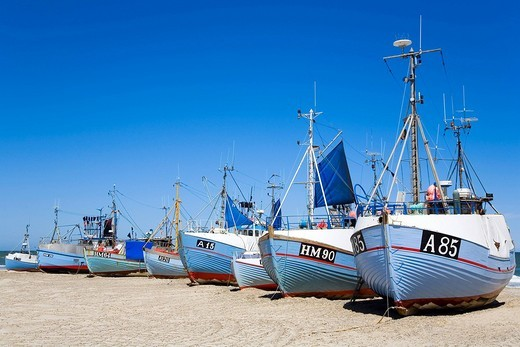 Stock Photo: 1848R-284208 Fishing cutters on beach in northern Jutland, Denmark